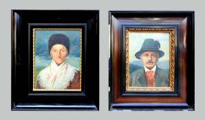 Paul Wagner, 1864 – tätig in Bayern Öl/Leinwand. Zwei Portraits als Gegenstücke,