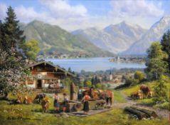 Hubert Kaplan, 1940 München Öl/Holz. Vor einer Almhütte treffen sich mehrere Dorfbe