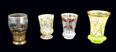Konvolut von Gläsern Glas, verschiedene Ausführung. Konvolut von 4 Gläsern, darunte