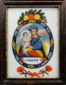 Heiliger Joseph von Nazareth Hinterglasmalerei. Im Kreis dargestellter Gottvater, mit
