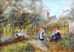Anneliese Ladas, 1941 Oberbayern Öl/Holz. Handarbeitende Frauen in Tracht mit spielen