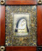 Klosterarbeit mit der Gottesmutter Handkolorierte Lithographie. Darstellung der Madonn