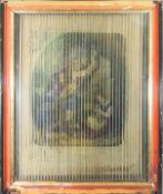 Interessanter Guckkasten Im Hintergrund des Kunstwerkes ist der kolorierte Stich dreie