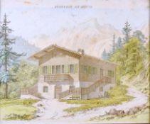 Königsalpe bei Kreuth Kolorierte Radierung/Papier. Ansicht der Königsalpe bei Kreuth