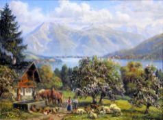 Hubert Kaplan, 1940 München Öl/Holz. Blick von Holz aus über den Tegernsee. Im Vord
