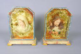 Klösterliche Wachsarbeiten mit Maria und Jesus Gefärbte Wachsfolien-Portraits im Kas