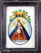 Heilige Mater Dolorosa Hinterglasmalerei. Im Kreis dargestellte Gottesmutter, mit sieb