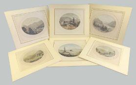 Ansichten des Tegernseer Landes Bleistift, weiß gehöht/Papier. 6 ovale Ansichten ver