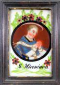 Bildnis eines Heiligen Hinterglasmalerei. Heiliger mit prächtigem Kirchengewand und K