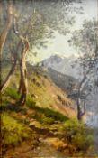 Adalbert Waagen, 1833 München – 1898 Berchtesgaden Öl/Malkarton. Idealtypische Lan