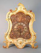 Prächtige Münchner Kommodenuhr Metallgehäuse mit Holzrand. Messinguhrwerk mit Pende