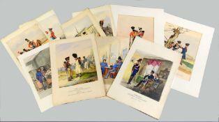 Kolorierte Bildtafeln Aquarell/Kohle/Deckfarben. Mappe mit 18 Zeichnungen aus dem mili