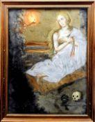Leidende Heilige Maria Magdalena Hinterglasmalerei. Weinende Hl. Maria von Magdala mit