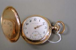 Union Horlogére, Guillochierte Taschenuhr 14 K Gold-Gehäuse, gestempelt. Metall-Stau