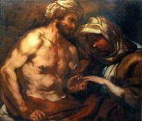 Vermählung Öl/Leinwand. Darstellung eines Paares bei der Ringübergabe. Der Mann, mi