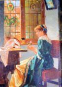 Die Ersten Sonnenstrahlen; Mädchen am Fenster Öl/Holz. Eine Frau in schönem Gewand