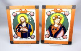 Paar Hinterglasbilder Maria und Joseph Hinterglasmalerei. Auf weißem Grund rosenbekröntes
