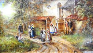 Anneliese Ladas, 1941 Oberbayern Öl/Holz. Nach dem Kirchgang. Dorfbewohner treffen si