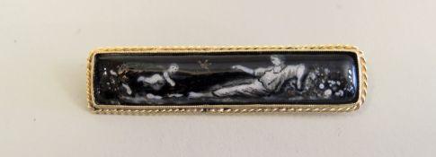 Feine Stabbrosche mit Emaille-Malerei 14 K Gelbgold. Feine Stabbrosche mit filigraner