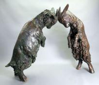 Ladislav Hlina, 1947 Böhmen Bronze. Zwei kämpfende junge Ziegenböcke im Wachsaussch