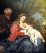 Die Heilige Familie auf der Flucht Öl/Leinwand. Darstellung Mariens und Josephs mit i