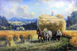 Karl Demetz, 1909 Trossingen – 1986 Apfelstetten Öl/Leinwand. Kornernte auf der Sch