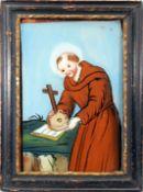 Heiliger Franziskus von Assisi Hinterglasmalerei. Vor hellblauem Hintergrund stehender