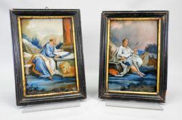 Hochwertige Darstellungen der zwei Evangelisten Hinterglasmalerei. Vor naturgetreu aus