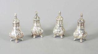 Feine Salz- und Pfefferstreuer Silber Sterling, am Boden mit Feingehaltsstempel, Halbm