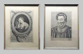 Zwei Kupferstich-Portraits Kupferstich/Papier. Portrait einer trauernden Dame, gestüt