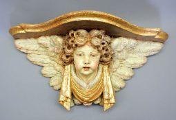 Konsole mit Engel Holz, polychrom und goldgefasst. Ein Engel mit Flügelaureole trägt