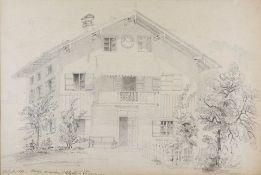 Feine Zeichnung der Tegernseer Rosenstraße Bleistift/Papier. Ansicht eines Hauses in