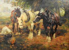 Georg Wolf, 1882 Niederhausbergen - 1962 Uelzen Öl/Hartfaserplatte. Drei Arbeitspferd