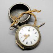 Vaucher, Spindeltaschenuhr Wohl Silber mit Metall- Repousseübergehäuse. Antike Spind
