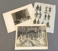 Stiche mit osmanischen Themen Kupferstiche/Papier. Ansichten eines türkischen Divans