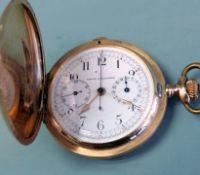 """Taschenuhr mit Stoppfunktion 14 K Gold. Taschenuhr """"Union Horlogère"""" mit Stoppfunktio"""