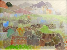 Eduard Bargheer, 1901 Hamburg - 1979 Hamburg Aquarell/Papier. Südliches Dorf. Aquarel