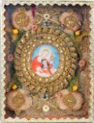Klosterarbeit mit der Heiliger Theresa von Ávila Aquarell/Pergament. Darstellung der