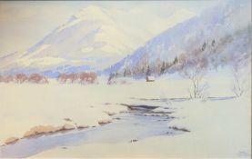 Carl Kessler, 1876 Coburg - 1968 München Aquarell/Papier. Eine schneebedeckte Berglan