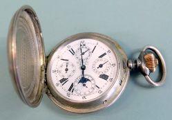 Taschenuhr Vollkalender Silber 800. Außergewöhnlich große Taschenuhr mit Sprungdeck