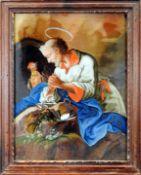 Heiliger Apostel Petrus Hinterglasmalerei. Vor dem Heiligem Grab betender Hl. Petrus m