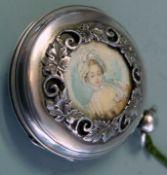 Spindeltaschenuhr mit Miniatur Silber. Spindeltaschenuhr mit 1/4 Stunden-Schlagwerk un