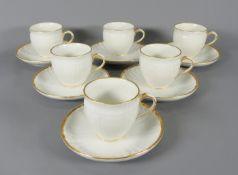 KPM, Kaffeetassen Set Porzellan, am Boden mit unterglasurblauem Zepfter und aufglasurg