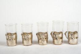 5 Teeglashalter, Wien 19 Jh.