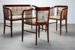 Vienna, 2 Art Nouveau armchairs and bench