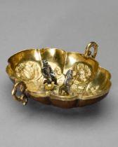 Herrengrund, Gilded winetaste copperbowl with miner figurines