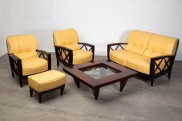 Adam Tihany Mariani, Sofa, 2 Armchairs, stool, table