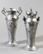 2 WMF Art Nouveau Pewter Vases
