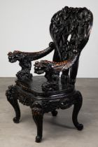 Large Carved Armchair with dragons and lilies, China
