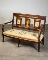 Empire Bench Seat, Russia, Gobelin tapestry